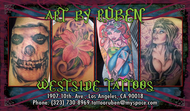 My latest work is a business card created for Ruben at Westside Tattoos,